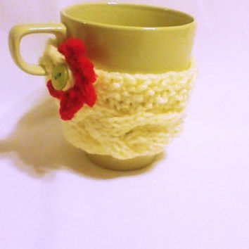 Mothers day yellow hand knit coffee cozy with crochet red flower/tea cozy/Mug warmer/coffee Cup sweater/Cup cozy/Cup sleeve/Knitted cozy