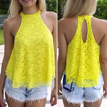 Women Summer Fashion Yellow Print Sexy Sleeveless  Open Back Tank Top Hot Sell = 1667551812
