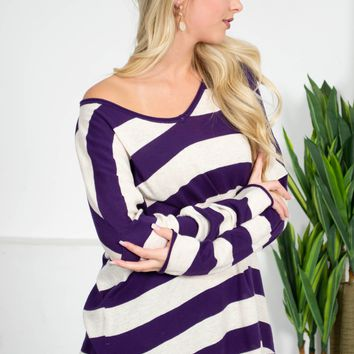 Purple Joy Striped Sweater