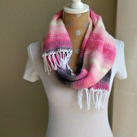 Mexican Blanket Scarf, Serape Inspired Scarf, Southwestern Knit Scarf, Tribal Blanket Scarf, Serape Blanket Scarf, Knit Ombre Scarf Fringe