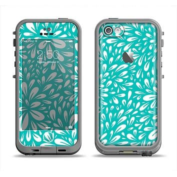 The Teal and White Floral Sprout Apple iPhone 5c LifeProof Fre Case Skin Set