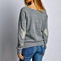 Sequin Heart Elbow Patch Sweatshirt Jumper - Heather Grey w Sequin Elbow Patch