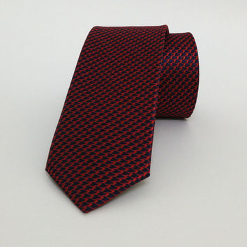 "Red and Dark Blue Skinny Tie 2.36"" (6 cm) Red spotted tie - Red spotted necktie - Red spotted cravat - DK642"
