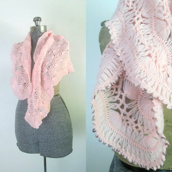 Vintage Pink Crochet Shawl Scarf Mid Century 1950s Wrap Sequined Edge