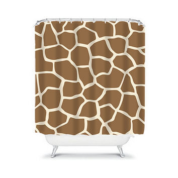 Shower Curtain CUSTOM You Choose Colors Giraffe Pattern Brown Bathroom Bath Polyester Made in the USA