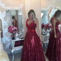 Luxury Formal Dresses Evening Gown Elegant Women Dress for Wedding Party Beading Crystals Sequined Pearls Sashes See Through