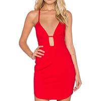 OH MY LOVE No Scrubs Plunge Neck Dress in Red