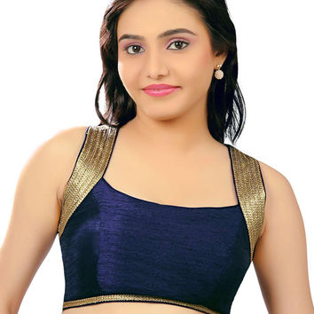 Exquisite Navy Blue Silk Party-Wear Sari Blouse SNT-X-257-NS