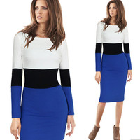 Womens Casual Slim Pencil Lady Stripe Dress