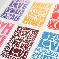 VALENTINE 6 POSTCARDS by rawartletterpress on Etsy