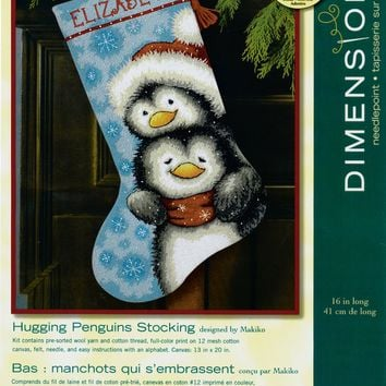 """16"""" Long Stitched In Wool & Thread Hugging Penguins Stocking Needlepoint Kit"""