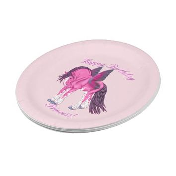 Pink Clydesdale Fantasy Fairy Horse Paper Plate
