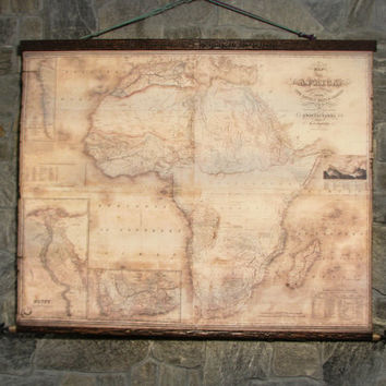 Wild Africa in 1848, old map on canvas + antique wooden pirate frame & iron spears, ready for your empty wall! Large wall decor.