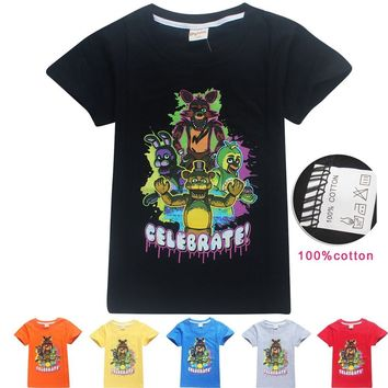 Children Summer Novelty Tees Cartoon Animal Printed Boys Shirts 100% Cotton Five Night at Freddy Blouse Girls Kids T-shirt