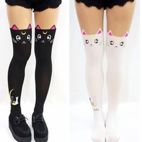 Sailor Moon cosplay costume Crystal Luna Kitty Cute Pantyhose Women Panty Stocking Tights
