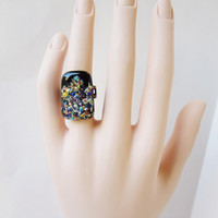 Eye Catching Adjustable Statement Ring, Fused Dichroic Glass, Cocktail Ring, Multi-Colored, Nebula Galaxy Inspired, Aurora Borealis Effect