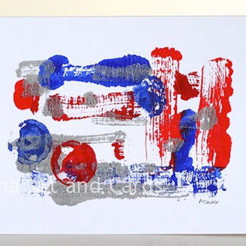 SALE 35% Off Unique Art Greeting Card, Abstract Mono Print, Original Artwork, The Red Ball