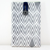 Grey Ipad mini case, hand printed art deco fabric padded tablet sleeve cover