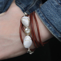 Brown Leather Beaded Wrap Bracelet