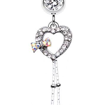 Dainty Bow-Tie Accented Heart Belly Button Ring