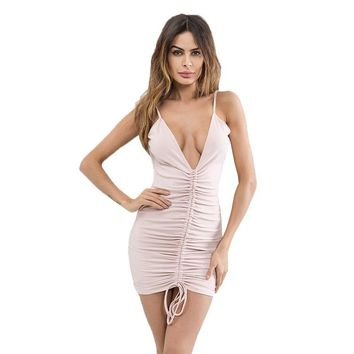 women Mini dress Deep V-Neck Bandage dress Women backless Bodycon Dress