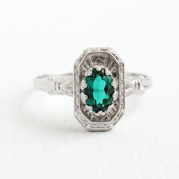Antique 10K White Gold Simulated Emerald Ring - Vintage Art Deco 1930s Size 5 Hallmarked P.S.Co. Fine Etched Jewelry