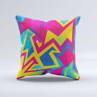 The Bright Retro Color-Shapes ink-Fuzed Decorative Throw Pillow