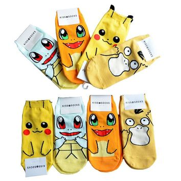 cute cartoon anime  pikachu Charmander  Squirtle women's Fashion Cotton kiss Sock ankleKawaii Pokemon go  AT_89_9
