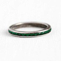 Sterling Silver Band - Vintage Sterling Silver Simulated Emerald Ring - Size 6 3/4 Eternity Channel Set Green Glass Stones Eternity Jewelry