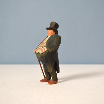 Vintage Hand Carved Wood Figurine - Rich Dandy