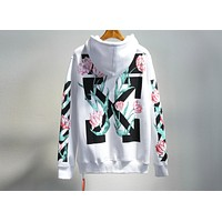 OFF-WHITE C/O VIRGIL ABLO Tulip Flower Hooded Hoodie F-A-KSFZ White