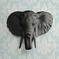 The Large Savannah Black Faux Taxidermy Resin Elephant Head Wall Mount | Black Elephant w/ Colored Tusks