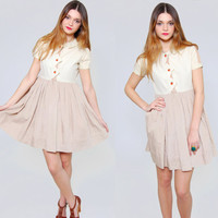 Vintage 70s BABYDOLL Mini Dress Taupe & Cream Short Sleeve Collard Dress Mini Swing Dress