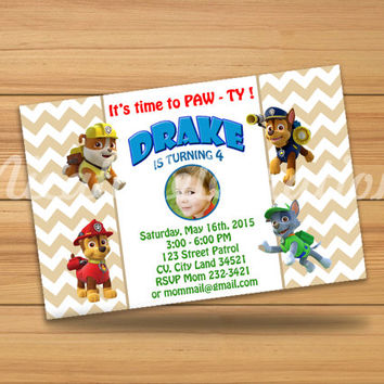 Paw Patrol Design Invitaion - Digital File