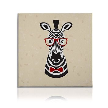 Hipster Animals Pictures Canvas Wall Art Painting Prints Decor Zebra