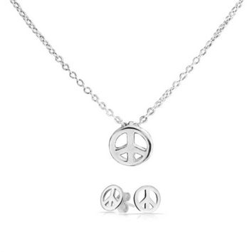 Tiny Peace Symbol Pendant Charm Necklace Earring Set Sterling Silver