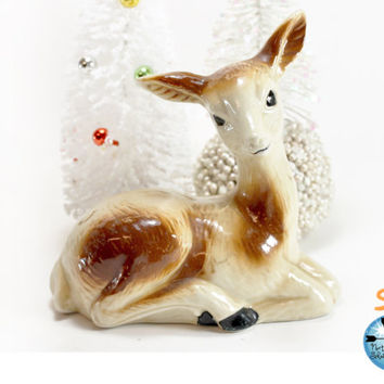 Large Vintage Ceramic Deer, Fawn Figurine, Cabin Decor, Shabby Christmas Decor