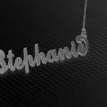 English Silver One Name Necklace
