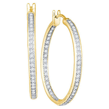 14kt Yellow Gold Womens Round Diamond Single Row Inside Outside Hoop Earrings 1.00 Cttw 49810