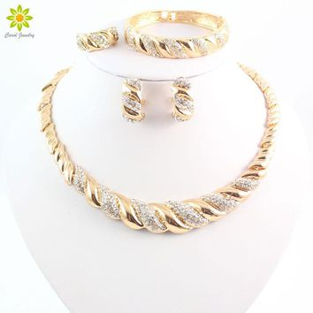 New African Jewelry Sets Gold Color Trendy Necklace Earrings Bracelet Women Gold Color Jewelry Set Wedding Accessories
