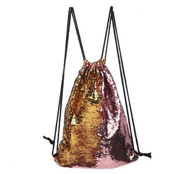 Color Sequin Drawstring Bags Cinch String Backpack