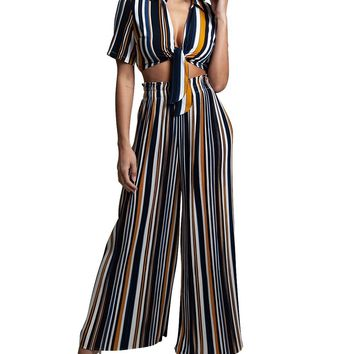 Stripe Collared Crop Two-Piece Jumpsuit