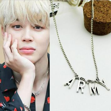 BTS Kpop ARMY Necklace Women Men Jewelry Collier Korea Fashion BTS Album Love Yourself Accessories 2018