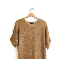 Vintage gold sequin mini dress. Tunic top. Shimmer top