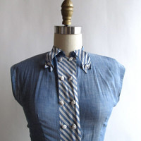 Vintage Dress . 1960s Sheer Blue & White Striped Chambray Dress . Size Extra Small