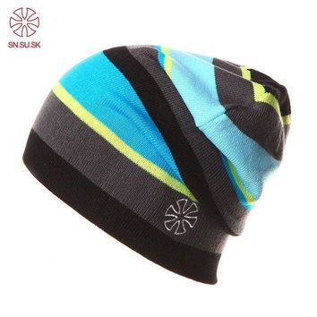 ac NOOW2 SU.SN.SK Brand Winter Caps Striped Beanie Winter Hat For Women And Men Beanies Fashion Outdoor Skate Skullies Beanies Ski Hats