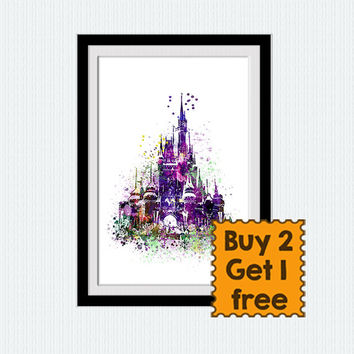 Disney castle watercolor print Disney castle colorful poster Home decoration Kids room wall art Nursery room decor Christmas gift  W337