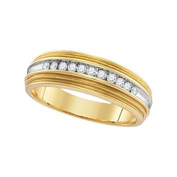 10kt Yellow Gold Men's Round Diamond Two-tone Milgrain Wedding Anniversary Band Ring 1/4 Cttw - FREE Shipping (US/CAN)