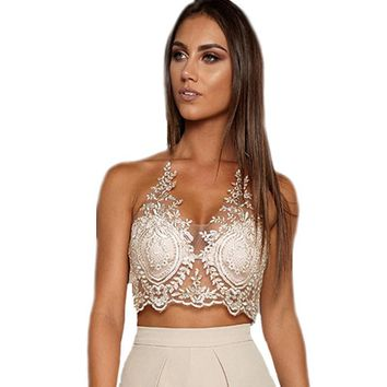 Summer Sexy Spaghetti Strap Lace Crop Top Women Beach Backless Halter Short Top Unpadded Club Bralette Bralet Bra Camis Women