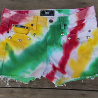 Red, Yellow, and Green Dyed and Studded Rasta Colored Shorts
